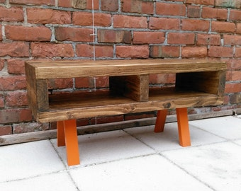 Tv stand contemporary rustic industrial tv unit or coffee table legs finished in funky Orange