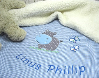 Baby personalized baby blanket, baby blanket with Hippo for boys