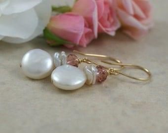 Freshwater pearl coin earrings, pearl drop earrings, keishi pearl earrings, bridal earrings, Swarovski earrings, wedding jewelry, her gift