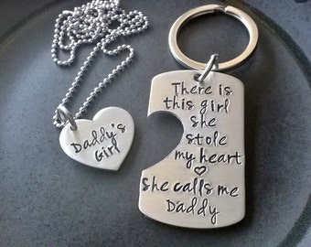 Fathers Day / Daddy's Girl / Daddy/Daughter key chain / Necklace combo / This Girl Stole My Heart, She calls me Daddy / Personalized