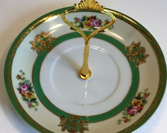 Vintage Porcelain Tidbit Tray/ Single Tier Tray in Green and Gold