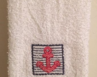Embroidered ~RED ANCHOR~ Kitchen Bath Hand Towel