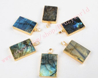 1pcs Gold Plated Rectangle Natural Labradorite Faceted Pendant Bead Handmade Gemstone Jewelry Labradorite Jewelry Making Jewelry G0496