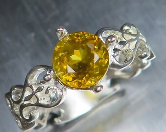 1.70ct Natural Titanite sphene canary yellow round cut terling 925 Silver engagement ring all sizes