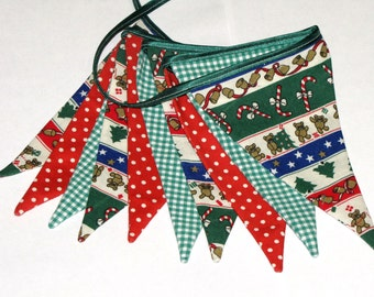 Christmas garland. Fabric garland. Flag garland. Bunting Banner. Home decor. Wall decoration. Christmas decoration.