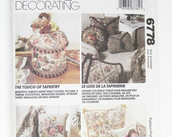 Craft Pattern Home Decrating & Decor Table Covers Pillows Footstools Tables Magazine Racks And More UNCUT McCall's 6778 Craft Sewing Pattern