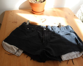 Vintage black Levi denim short cut-offs