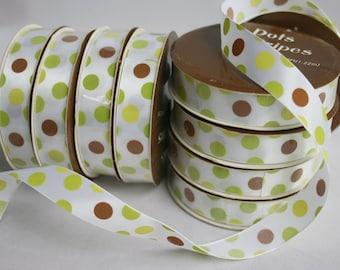 "4 feet per roll, 5 rolls, Satin Printed Ribbon, Dots, Spots, Brown and Green, 5/8"", 16mm, 5/8 inch"