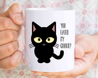 "Grumpy cat mug, ""You eated my cookie"" funny coffee mug, grumpy cat coffee mug, funny cat gifts, kitty mug, cat themed gifts, cat cup MU109"