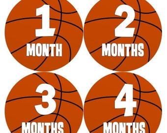 Monthly Baby Stickers Baby Boy Stickers Baby Month Milestone Stickers Baby Month Stickers Month to Month Basketball Stickers  225