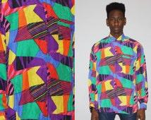 Vintage 1990s Silk Graphic Geometric Rainbow Men's Short Sleeve Button Up Dress Shirt  - 90s  Silk Tops  - MT0750