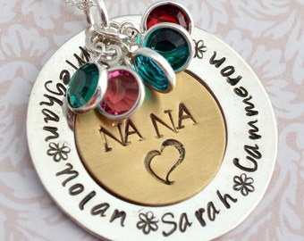 Nana Necklace with Birthstones, Gift for Nana, Grandmother Necklace, Nana Jewelry, Grandma Necklace, Necklace for Nana, Gift for Grandma