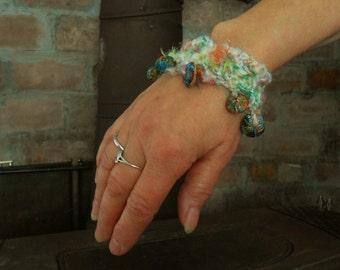 Wristlet Bracelet Silk Soft Shimmery Sparkle Crochet