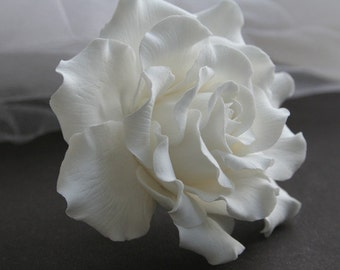 White rose Wedding Hair flower Bridal Hair accessories Bridal Hair flower Bridal hair clip Rose hair Wedding hair accessories