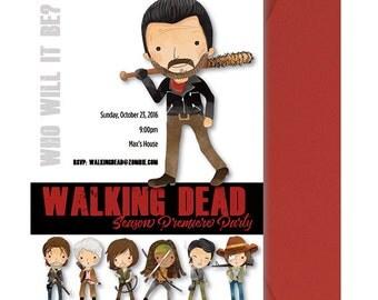 Walking Dead Invitation - Walking Dead Invite - Walking Dead Season Premiere Party Invitation - Rick Daryl Zombie  - Printed and Shipped