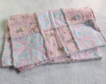 Toddler / Infant  flannel rag quilt blanket made with 100% cotton pink precious moments teddy bear flannel and pastel tye dye flannel