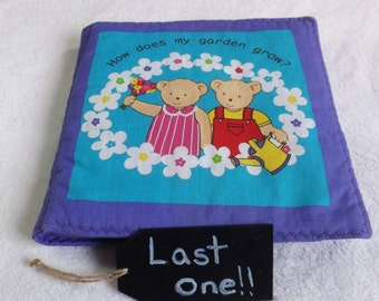 """Cloth book titles """"How Does My Garden Grow?"""" for babies and toddlers"""