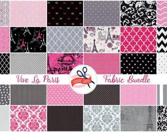 PARIS FABRIC BUNDLE Fabric by the Yard, Fat Quarter Bundle 30 Fabrics Pink & Black Fabric 100% Cotton Fabric Quilting Fabric Apparel Fabric