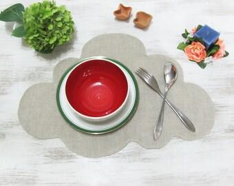 Natural Linen Cloud Placemat /Ecofriendly  Placemats /Double Side Decor/Table Decor-1pcs-10 color optional