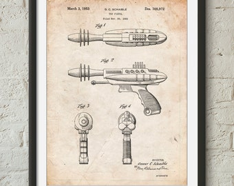 Toy Laser Gun Patent Print, Retro Toys, Outer Space Nursery, Space Toy, Ray Gun, PP0498
