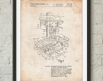 Drill Press Patent Poster, Metalwork, Tool Poster, Woodworking Tools, Unique Gifts for Dad, Man Cave, PP0788