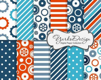 Steampunk Gears Paper, Blue And Orange Gears Silhouette Pattern, Sprocket Digital Paper, Cogwheel, Background - Instant Download - YDP007