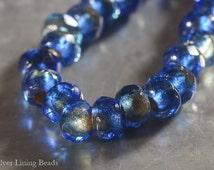 NEW! Sapphire Pips (10) - Czech Glass Bead - 6x9mm - Roller Bead