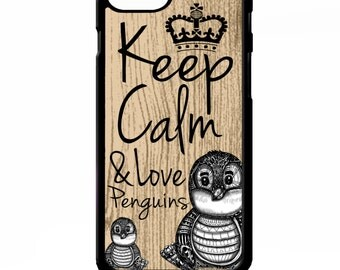 Keep calm and love penguins cute quote phrase cover for iphone 4 4s 5 5s 5c 6 6s plus SE phone case