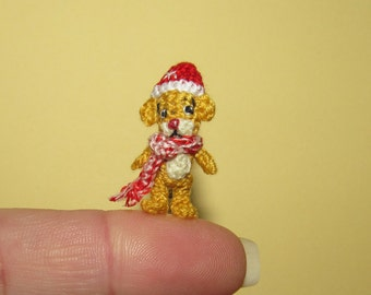 Miniature Christmas Bear miniature bear Christmas gift idea tiny bear collectible bear one of a kind bear cute Teddy bear dollhouse bear 1""