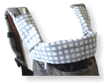 Manduca,Ergo Original/Organic/Performance Bib,Drool Pads,Topper,Teething Pads,Grey White Plaids,SSC Baby Carrier Accessory,Ergobaby,Soft