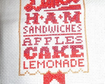 Completed Cross Stitch Lunch Menu Typography Sampler