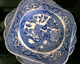 Staffordshire Willow Blue Square Sandwich plates 1891-1920