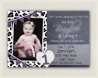 Girls 1st Birthday Leopard Print Invitation / Printable Download / First Birthday Invitation Invites / Purple Black White DIY Digital (19)
