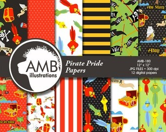 Pirate digital papers, Nautical papers, Pirate scrapbook papers, Pirate Party background, Pirate pattern, commercial use, AMB-180