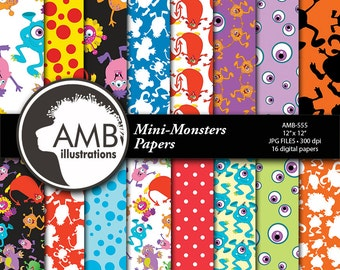 Monster Digital Papers, Little Baby Monsters Background Paper, commercial use, instant download, AMB-555