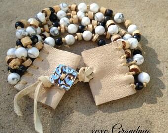 5 Strand Leather & Beaded Wrap Bracelet, Cork, White Turquoice and Onyx Beads