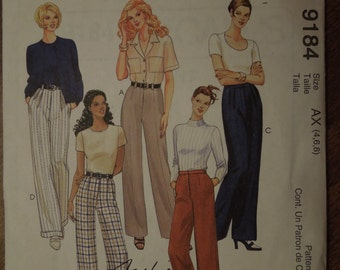 McCalls 9184, sizes 4-8, womens, misses, teens, pants, UNCUT sewing pattern, craft supplies, trousers, jeans