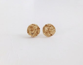 Gold druzy earrings - 10 mm