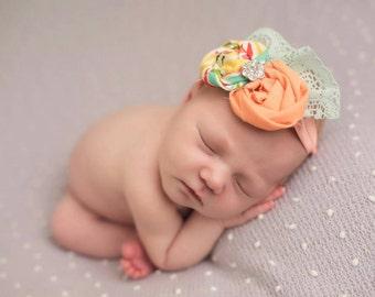Peach baby headband aquamarine sea foam green newborn toddler girls  summer coral yellow green white lace vintage birthday flower girl