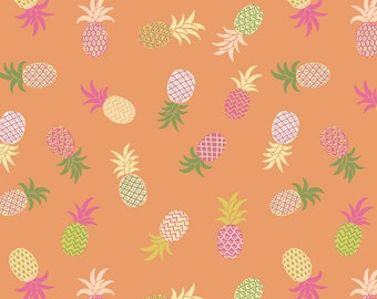 Lewis & Irene Patchwork Quilting Fabric Pineapples A134.3 Orange