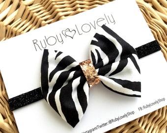 Baby/Girls Zebra Print Bow, Black and White Hair Bow, Animal Print Bow, Animal Print Headband, Black White Gold Bow