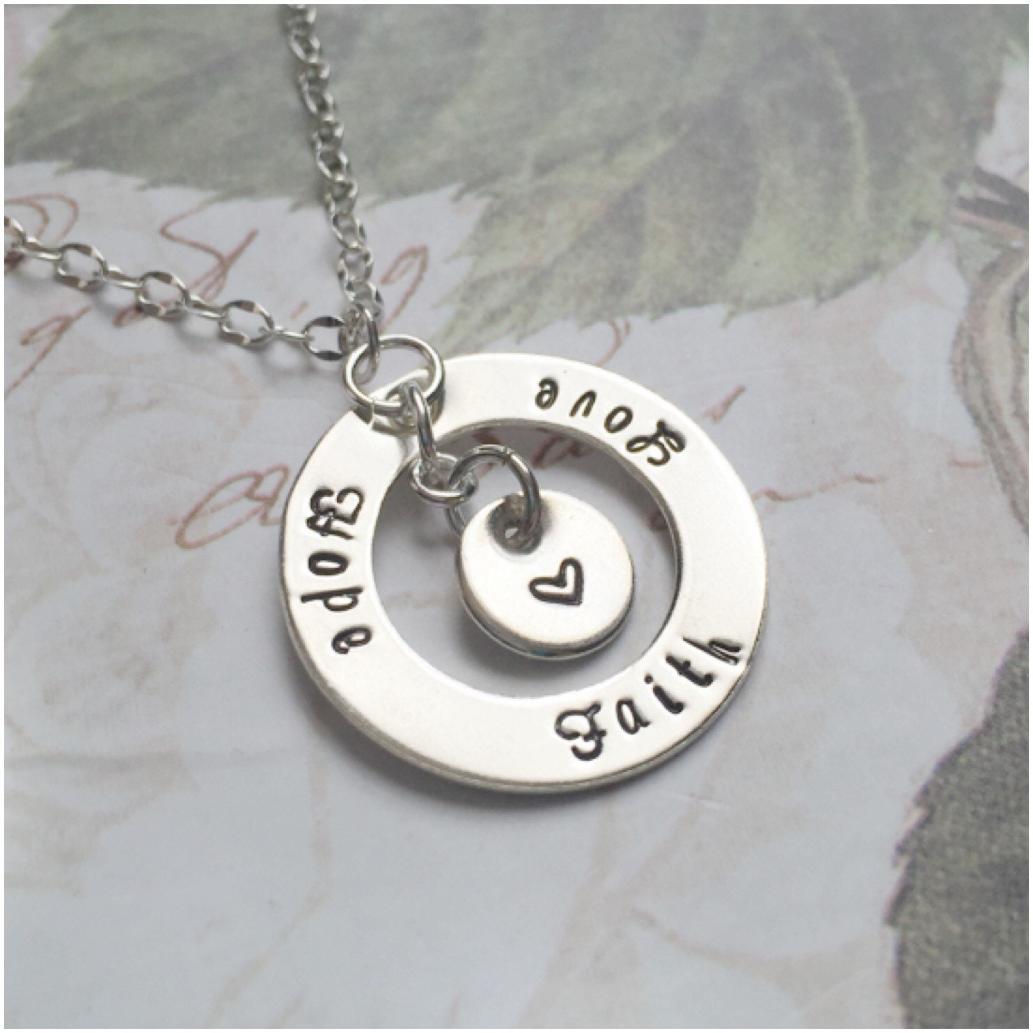 Faith hope love necklace hand stamped sterling silver for Faith hope love jewelry
