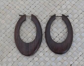 Oval Wood Post Earrings, Medium Brown Hoop, Sono Wood Earrings