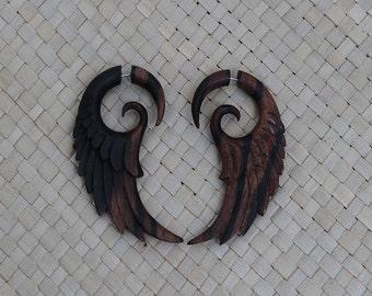 Stripe Wing Earrings, Fake Gauge Earrings, Wood Fake Piercing