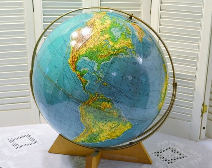 Vintage World Globe on Wooden Base 16 inch Weber Costello Educator Map PanchosPorch