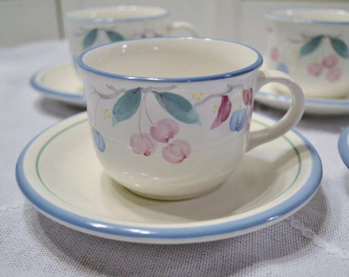 Vintage Ironstone Cup and Saucer Set of 4 Market Square Pastel Floral Design  Japan Panchosporch