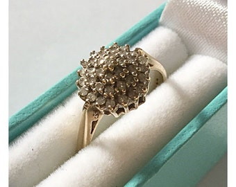 Vintage 9ct Gold Diamond Cluster Ring