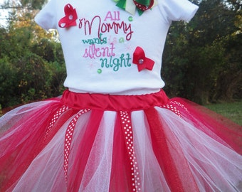 Baby Girl Christmas Tutu Outfit Includes Hair Bow Hand Cut Sewn