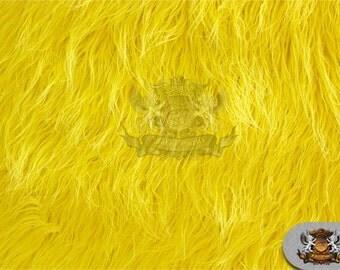 "Faux Fur Long Pile Mongolian Yellow Fabric / 60"" Wide / Sold by the yard"
