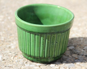 Vintage Small Green Ridged Ceramic Planter